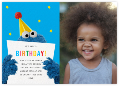 A Monster of a Birthday Photo - Sesame Street - Online Kids' Birthday Invitations