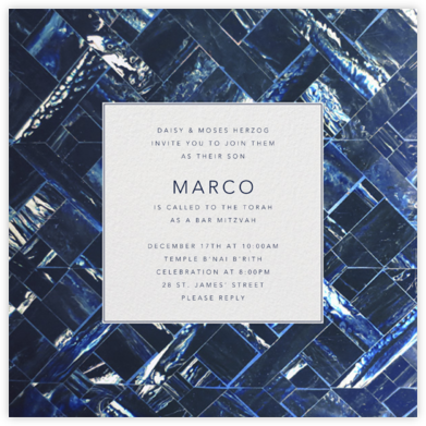 Marble - Indigo - Oscar de la Renta - Bat and Bar Mitzvah Invitations