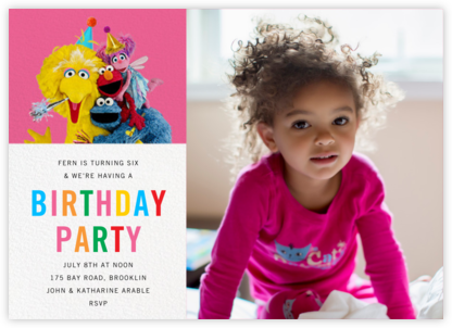 Big Bird and Company Photo - Sesame Street - Kids' birthday invitations