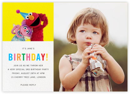 Birthday Fun Photo - Sesame Street - Kids' birthday invitations