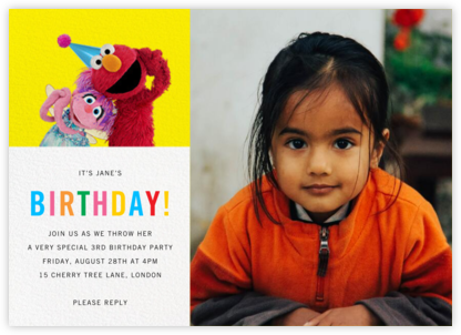 Birthday Fun Photo - Sesame Street - Birthday invitations