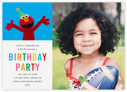 Elmo's Tickled Photo - Sesame Street - Online Kids' Birthday Invitations