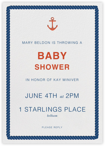 Anchors Aweigh - Jonathan Adler - Baby Shower Invitations