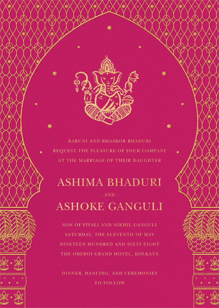 Vinayanka (Invitation) - Bright Pink - Paperless Post - Wedding invitations