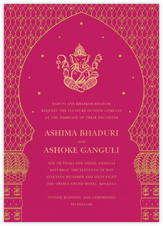 Vinayanka (Invitation) - Bright Pink - Paperless Post - Indian Wedding Cards