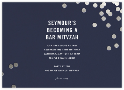 Confetti - Navy/Silver - kate spade new york - Bar and Bat Mitzvah Invitations