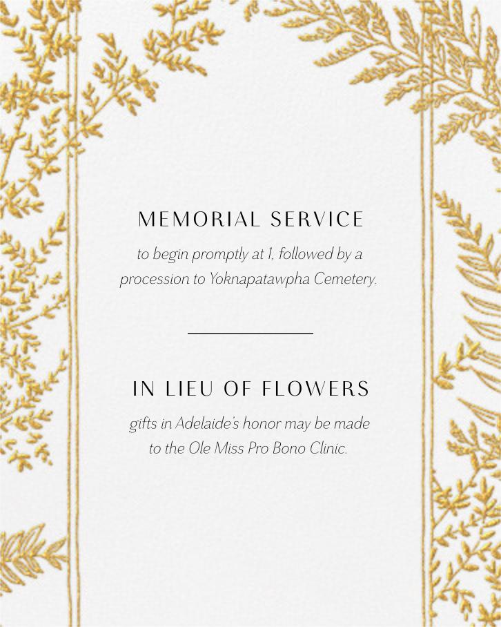 Fionola - Paperless Post - Memorial service - insert front