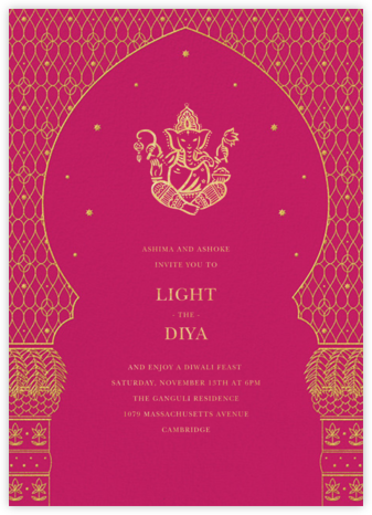Vinayanka - Pink - Paperless Post - Diwali invitations