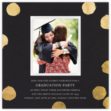 Reese (Photo) - Black/Gold - Sugar Paper - Online Party Invitations