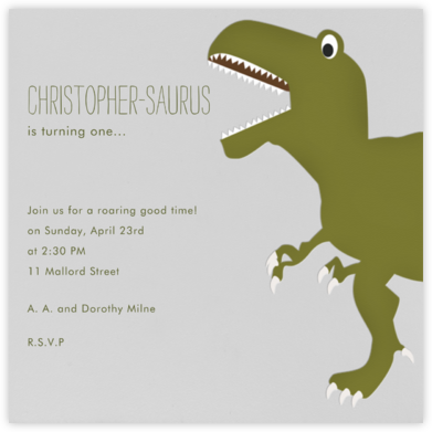 T-Rex - Paperless Post - First Birthday Invitations