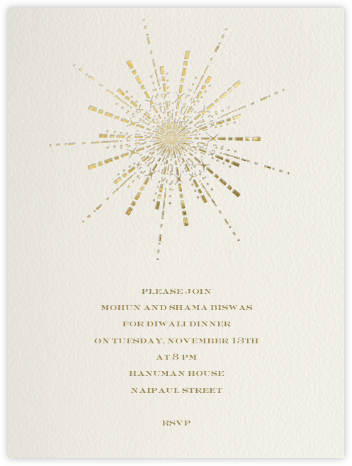 Ornate Fireworks (Cream) - Paperless Post - Diwali invitations