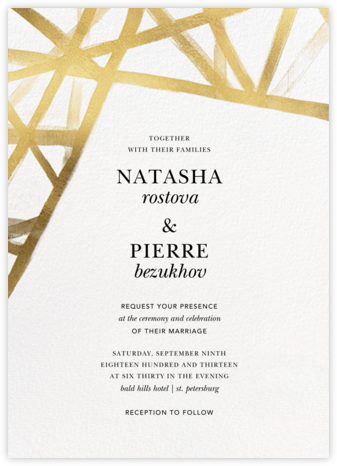 Channels (Invitation) - White/Gold - Kelly Wearstler - Wedding Invitations