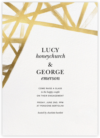 Channels - White/Gold - Kelly Wearstler - Engagement party invitations