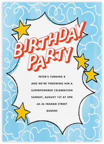 One Super Day - Paperless Post - Birthday invitations