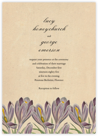 Crocus Vernus (Invitation) - John Derian - Wedding Invitations