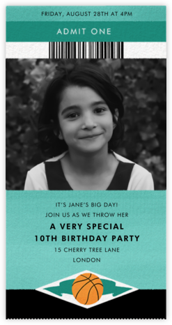 Courtside Seats - Basketball - Paperless Post - Online Kids' Birthday Invitations