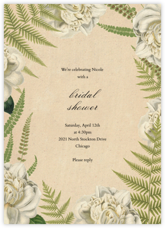 Fern Bouquet - John Derian - Bridal shower invitations