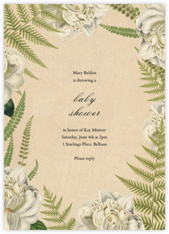 Fern Bouquet - John Derian - Baby Shower Invitations