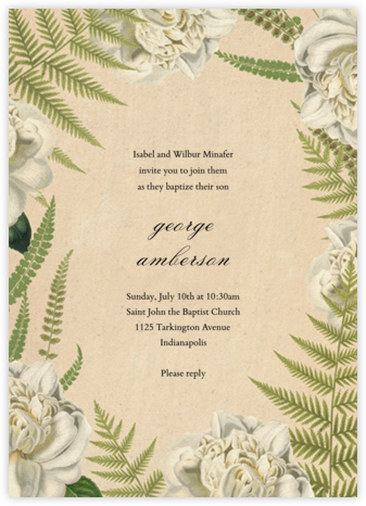 Fern Bouquet - John Derian - Christening Invitations