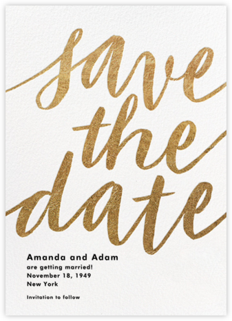 Evelina - White/Gold - Paperless Post - Modern save the dates