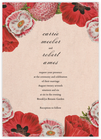 Shirley Poppies (Invitation) - John Derian - Wedding Invitations