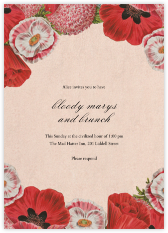 Shirley Poppies - John Derian - Brunch invitations