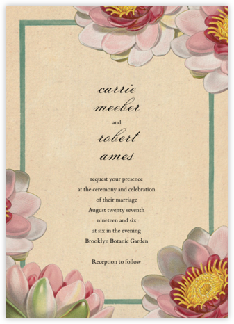 Tropical Water Lilies (Invitation) - John Derian - Wedding Invitations