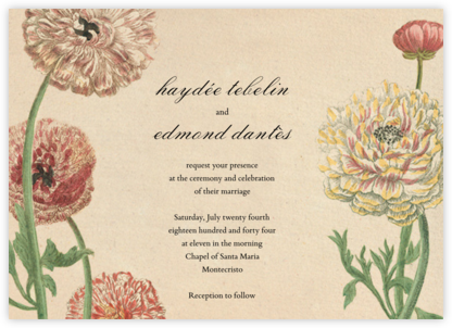 Wild Ranunculus (Invitation) - John Derian - Wedding Invitations