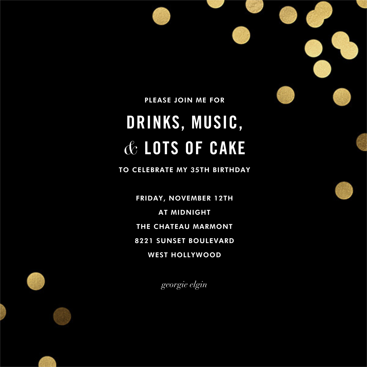 Confetti (Square) - Black - kate spade new york - Adult birthday invitations
