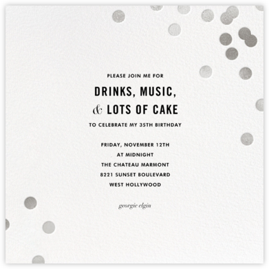 Confetti (Square) - White - kate spade new york - Adult Birthday Invitations