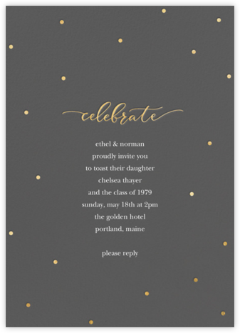 Celebration Dots - Charcoal/Gold - Sugar Paper - Celebration invitations