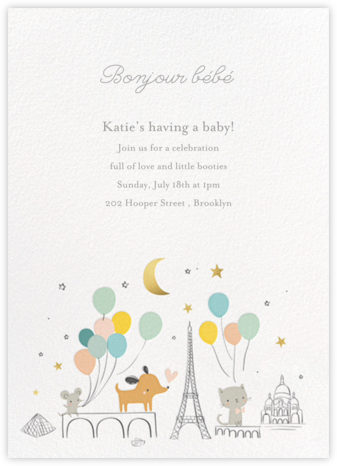 Bonjour Paris - Little Cube - Baby shower invitations