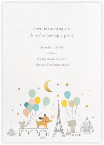 Bonjour Paris - Little Cube - Online Kids' Birthday Invitations