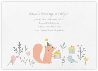 Foxy's Teatime Party - Little Cube - Woodland Baby Shower Invitations