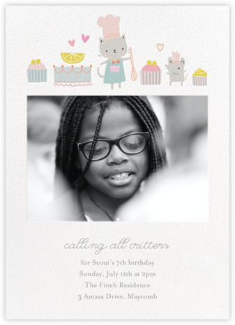 Kittie's Teatime Treats - Little Cube - Birthday invitations