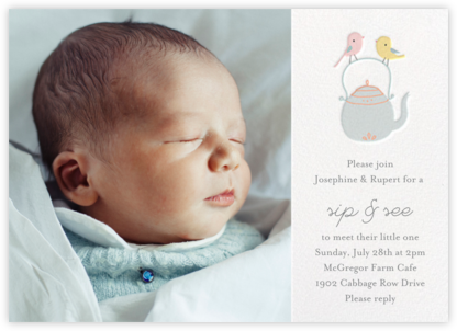 Tweeting Over Teatime Photo - Little Cube - Baby shower invitations