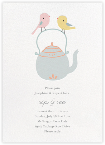 Tweeting Over Teatime - Little Cube - Baby shower invitations