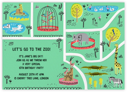 A Day at the Zoo - Hello!Lucky - Online Kids' Birthday Invitations