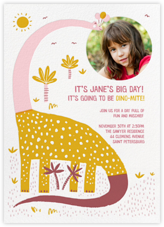 Dinos Might - Pink - Hello!Lucky - Online Kids' Birthday Invitations