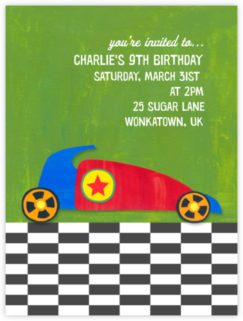 Race Car - Paperless Post - Online Kids' Birthday Invitations