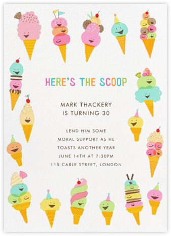 Happy Ice Creams - Hello!Lucky - Adult Birthday Invitations