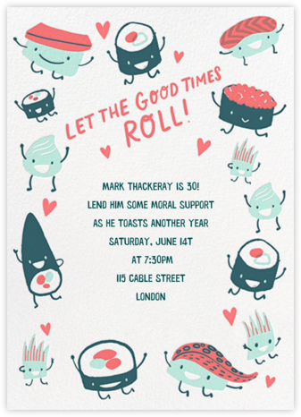 Roll Out - Hello!Lucky - Adult Birthday Invitations