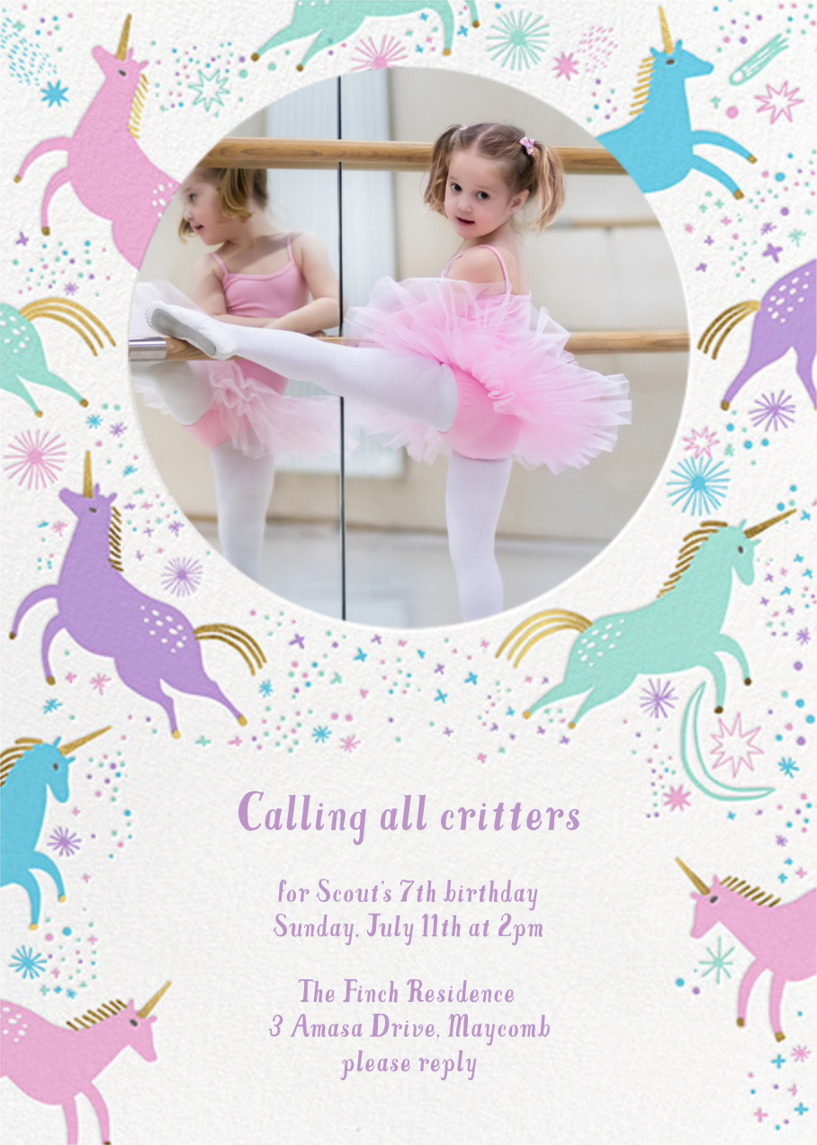 Unicorn Frolic - Hello!Lucky - Kids' birthday invitations