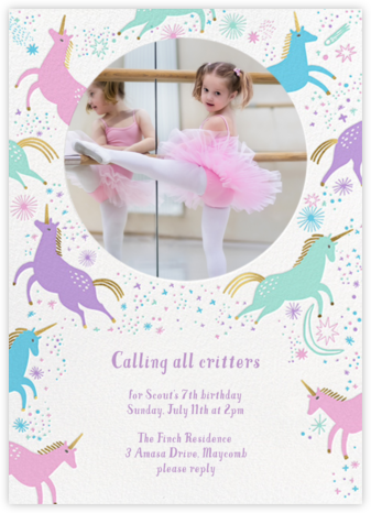 Unicorn Frolic - Hello!Lucky - Online Kids' Birthday Invitations