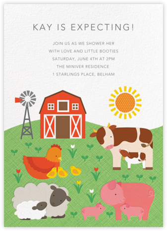 Barnyard Babes - Petit Collage - Baby Shower Invitations