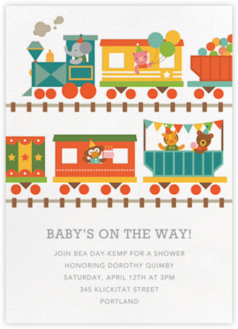 Circus Choo-Choo - Petit Collage - Elephant Baby Shower Invitations