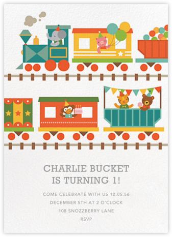 Circus Choo-Choo - Petit Collage - First Birthday Invitations