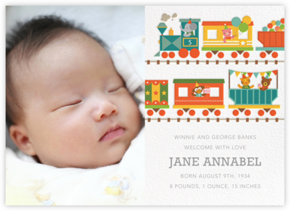 Circus Choo-Choo Photo - Petit Collage - Birth Announcements