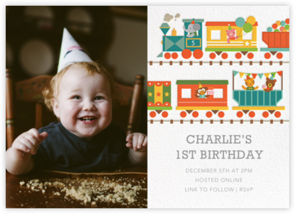 Circus Choo-Choo Photo - Petit Collage - First Birthday Invitations