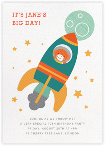 Cosmonaut Chimp - Petit Collage - Kids' Birthday Invitations